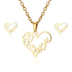 Fashion Jewelry Set Stainless Steel Womens Gold Pendant Necklace Earrings Gifts Mom