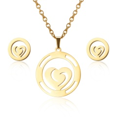 Fashion Jewelry Set Stainless Steel Womens Gold Pendant Necklace Earrings Gifts Round