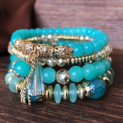 4pcs/set Bohemian Shell Charm Bracelets Bangles For Women Fashion Elastic Strand Adjustable Bracelets Sets Jewelry Party Gifts Blue