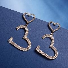 925 Sterling Silver Heart Zircon Dangle Earrings Female Jewelry Stud Earrings Gold