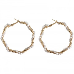 Fashin Golden Alloy with Pearl Hoop Earring Jewelry Wholesale A