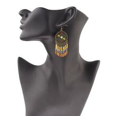 Boho Crystal Earrings Beads Charms Long Tassel Fringe Drop Dangle Earrings Jewelry Vintage Tassel