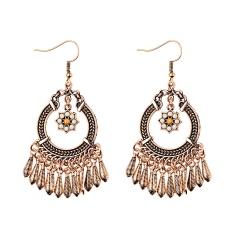 Boho Crystal Earrings Beads Charms Long Tassel Fringe Drop Dangle Earrings Jewelry Retro Flower