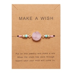 Rinhoo Make a Wish Colorful Natural Stone Woven Paper Card Bracelet Adjustable Lucky Red String Bracelets Femme Fashion Jewelry PINK