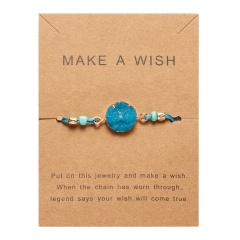 Fashion Round Charm Card Bracelet Blue