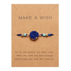 Rinhoo Make a Wish Colorful Natural Stone Woven Paper Card Bracelet Adjustable Lucky Red String Bracelets Femme Fashion Jewelry SAPPHIRE