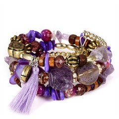 Crystal Bead Bracelets for Women Vintage Boho Multilayer Tassel Natural Stone Charm Wristband Strand Bracelet Gift pulseira Purple