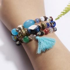 Bohemian Women Wrap Bracelet Multilayer Beads Bangle Tassels Bracelets Natural Stone Charms Wristband Gift Ethnic Jewelry Colorful