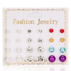 12 PairsTransparent Mixed Color Round Zircon Earrings Shiny Female Earrings Jewelry Gift Multi