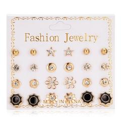 12 pairs/set of Pearl Flowers Bow Zircon Stud Earrings Simple Geometric Ear Stud For Women Girls Jewelry Flower