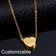 Personalized Engraved Custom Name Stainless Steel Heart Pendant Necklace Jewelry Gold