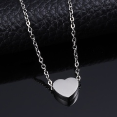 Personalized Engraved Custom Name Stainless Steel Heart Pendant Necklace Jewelry Silver