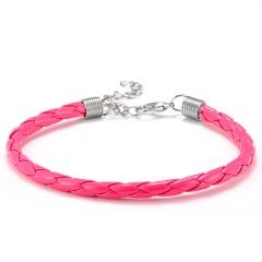 10PCS/Lot Fashion Braided PU Leather Bracelet Men Women 7 Colors Charm Bracelets Pulseras Male Female Jewelry Gift ROSE RED(10PCS)