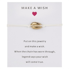 5 Colors Nature Shell Charm Bracelet Wish Card Gift Handmade Red String Bracelets for Women Men Kids Fashion Jewelry WHITE