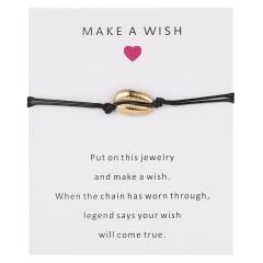 5 Colors Nature Shell Charm Bracelet Wish Card Gift Handmade Red String Bracelets for Women Men Kids Fashion Jewelry BLACK