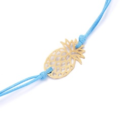 Wish Card Alloy Gold Color Pineapple Charm Bracelet for Lovers Red String Weave Bracelets Women Men's Wish Jewelry Gift 5 Colors BLUE