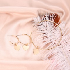 3Pcs/Set Women Charm Heart Big Round Hoop Drop Dangle Earrings Jewelry Gift New Heart