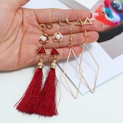 6 Design Fashion Long Tassel Stud Earrings Set Bohemian Geometric Earring Female Jewelry Moon