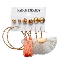6 Design Fashion Long Tassel Stud Earrings Set Bohemian Geometric Earring Female Jewelry Geometric