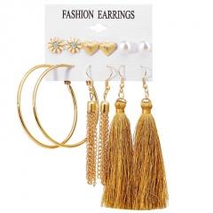 Fashion New Design Tassel Stud Earrings Set For Women Girl Bohemian Gold Flower Long Earring Female Fashion Wedding Jewelry Circle