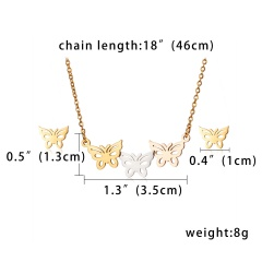 three-color butterfly hollow stainless steel necklace and earring set Butterfly