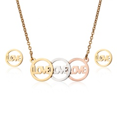 Fashion Stainless Steel Womens Hollow Pendant Necklace Earrings Jewelry Set Gift Love