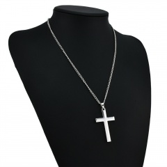 Stainless Steel Cross Link Chain Men Metal Gold/Silver Pendant Necklace Jewelry Silver