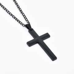 Stainless Steel Cross Link Chain Men Metal Gold/Silver Pendant Necklace Jewelry Black