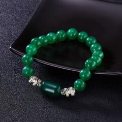 Fashion Green Beads Elephant Bracelet Glass Alloy Elephant Beaded Bracelet Men and Women Jewelry bracelet