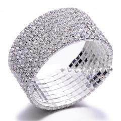 Wedding Bridal Women Full Crystal Rhinestone Silver Bracelet Cuff Bangle Jewelry Gift 8 Rows