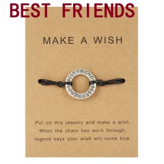 Make a Wish Card Sister Mother Grandma Family Best Friends Charm Bracelets Letter Engraved Friendship Forever Women Jewelry Gift Best Friends