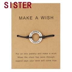 Make a Wish Card Sister Mother Grandma Family Best Friends Charm Bracelets Letter Engraved Friendship Forever Women Jewelry Gift Sister