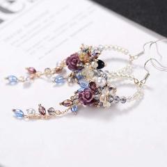 Charm Women Crystal Flower Tassel Stud Dangle Drop Fringed Hook Earrings Jewelry Flower