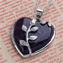 Women Heart Healing Mineral Gemstone Pendant Necklace Chakra Reiki Jewelry Gift Amethyst