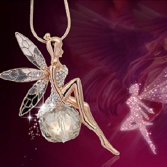 Elegant Women Crystal Gold Fairy Angel Wing Pendant Necklace Sweater Chain Gift Fairy