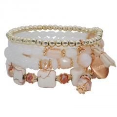 Bohemian Multilayer Crystal Beads Bracelets & Bangles Metal Bead Charm Jewelry For Women Gift Pulseras Mujer Jewelry Gift Beige