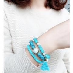3pcs/set Fashion Crystal Beaded Elastic Bracelet Set Women Girls Popular Glass Pearl Beads Tassel Bracelet Handmade Jewelry Gift BLUE
