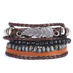 3pcs Women Leather Bracelets Multiple Layers Wood Beads Charm Leaf Feather Wrap Bracelets Pulseras for Men Male Jewelry Gift SET 2