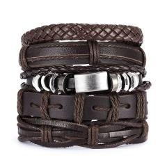 Men Bracelets Vintage Multilayer Leather Braid Bracelets Bangles Star Leaf Owl Handmade Rope Wrap Bracelets Male Gift Jewlery SET 4