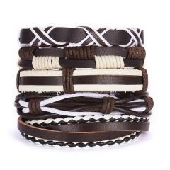 Men Bracelets Vintage Multilayer Leather Braid Bracelets Bangles Star Leaf Owl Handmade Rope Wrap Bracelets Male Gift Jewlery SET 7