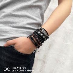 Men Bracelets Vintage Multilayer Leather Braid Bracelets Bangles Star Leaf Owl Handmade Rope Wrap Bracelets Male Gift Jewlery SET 1
