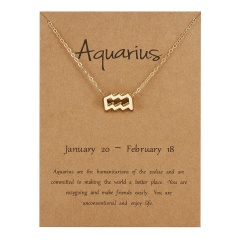 Fashion Women Constellations Pendant Necklace Gold Clavicle Chain Card Jewelry Aquarius