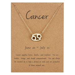 Fashion Women Constellations Pendant Necklace Gold Clavicle Chain Card Jewelry Cancer