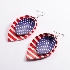 Charm Women American Flag Waterdrop Leather Earrings Dangle Drop Jewelry Fashion UK