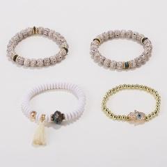 Ethnic Big Wooden Beads Bracelet Set Elastic Palm Tassel Charm Stone Metal Beaded Strand Bracelets & Bangle Boho Jewelry 3/4pcs White