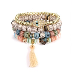 Ethnic Big Wooden Beads Bracelet Set Elastic Palm Tassel Charm Stone Metal Beaded Strand Bracelets & Bangle Boho Jewelry 3/4pcs Colorful