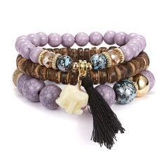 3pcs/set Fashion Women's Bracelet Set Multicolor Natural Beads Stone Strand Bracelets Bangle for women ladies pulsera Jewelry Purple