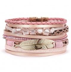 Vintage Multiple Leather Bracelets Gold Leaf Natural Stone Braided Rope Wrap Bracelets & Bangles Male Women Gift Pink