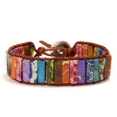 Vintage Braid Bracelets Natural Stone Round Beads Leather Wrap Bracelet for Women Multilayer Boho Bracelet Handmade Jewelry Chakra stone
