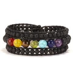 3 Layer Rope Wrap Bracelet for Women Matte Stone Bohemian Handmade Multilayer Mala Beads Leather Jewelry Woman Gift black